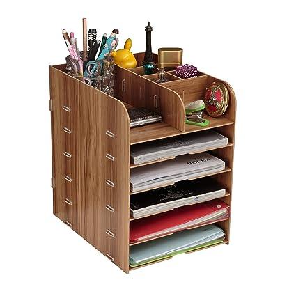 Organizador de archivos de madera, organizador de mesa, revista, bandeja de documentos,