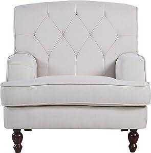 Divano Roma Furniture Modern Tufted Fabric Living Room Armchair (Beige)