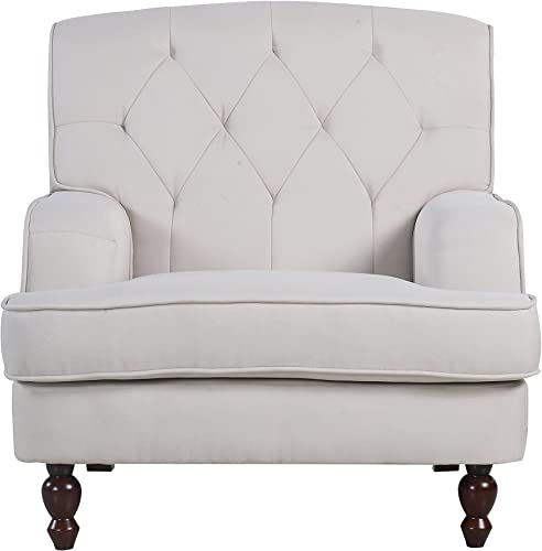 Divano Roma Furniture Modern Tufted Fabric Living Room Armchair Beige