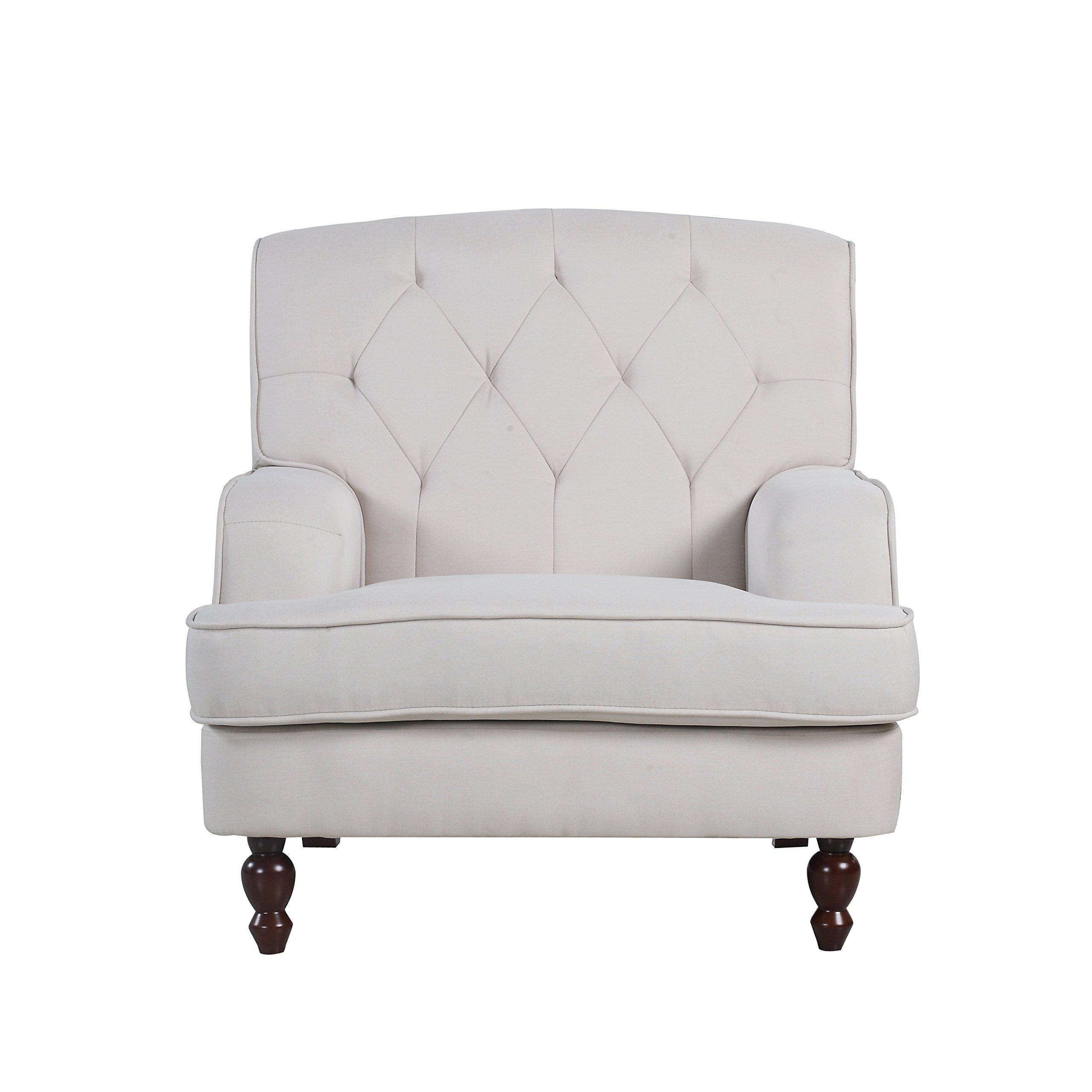 DIVANO ROMA FURNITURE Modern Tufted Fabric Living Room Armchair (Beige) by DIVANO ROMA FURNITURE