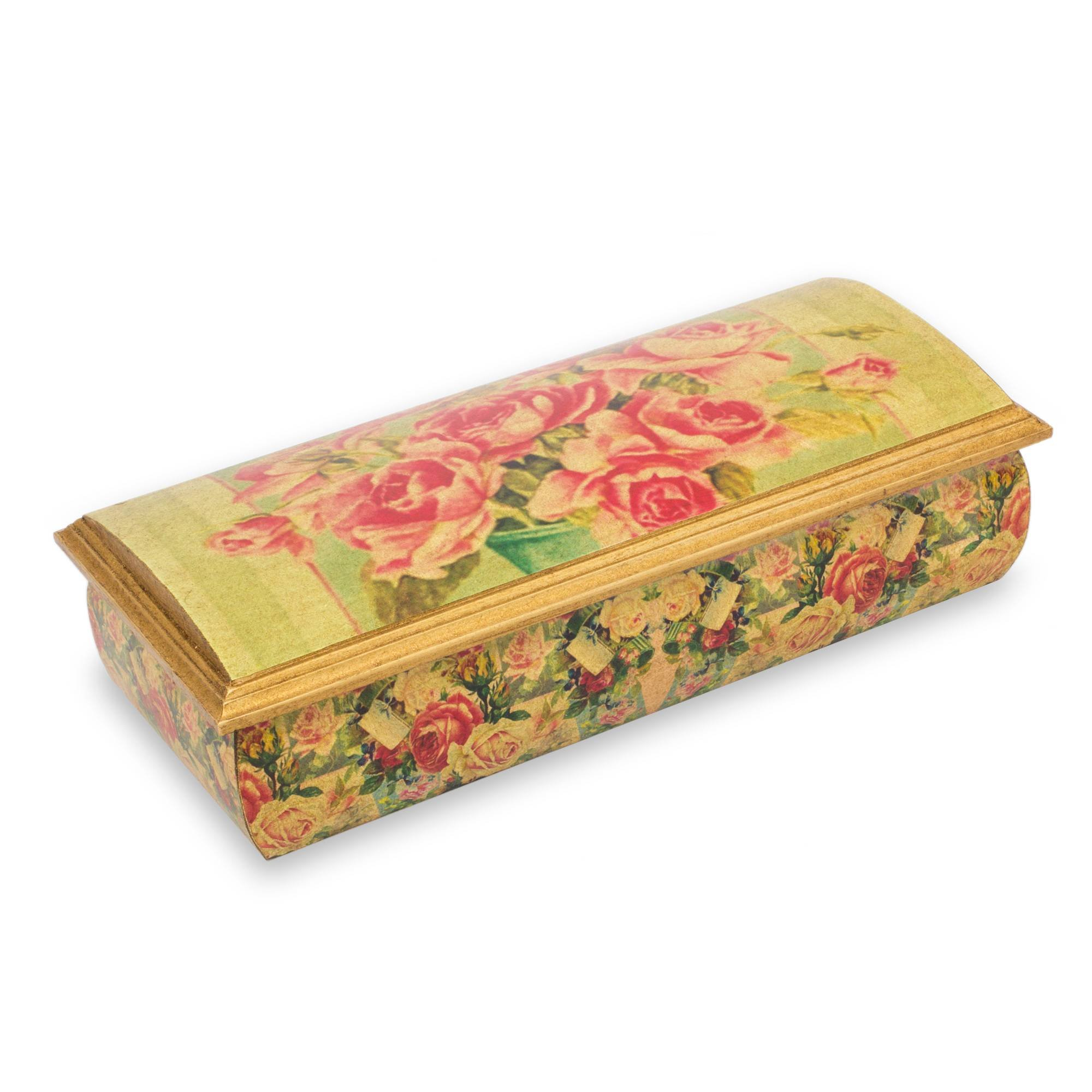 NOVICA Handcrafted Wood Decoupage Jewelry Box Multicolor, Roses'