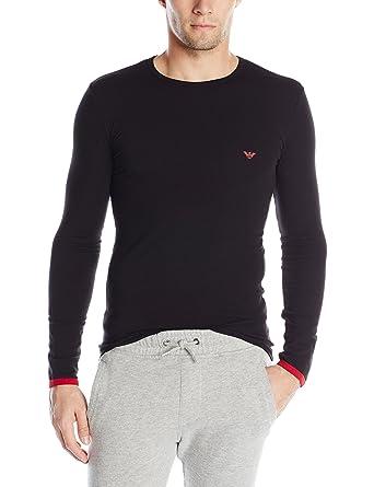 T-Shirt EMPORIO ARMANI Rundhalsausschnitt Langarm Schwarz 5 A725 Gr.  X-Large,