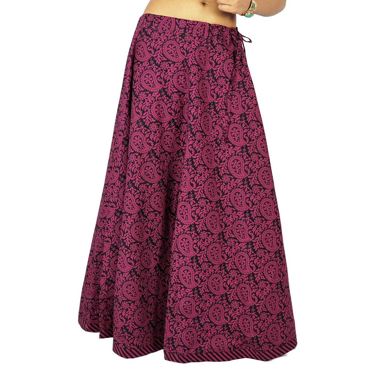 indian Kleidung Frauen Baumwolle gedruckt Strandabnutzungsrock Hippie Spitze
