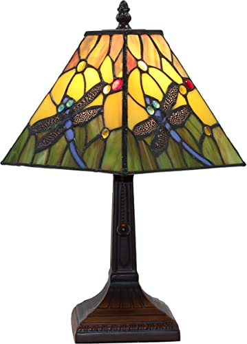 Tiffany Style Mini Accent Lamp Mission 15 Tall Stained Glass Yellow Green Floral Flower Dragonfly Vintage Antique Light D cor Nightstand Living Room Bedroom Handmade Gift AM289TL08B Amora Lighting