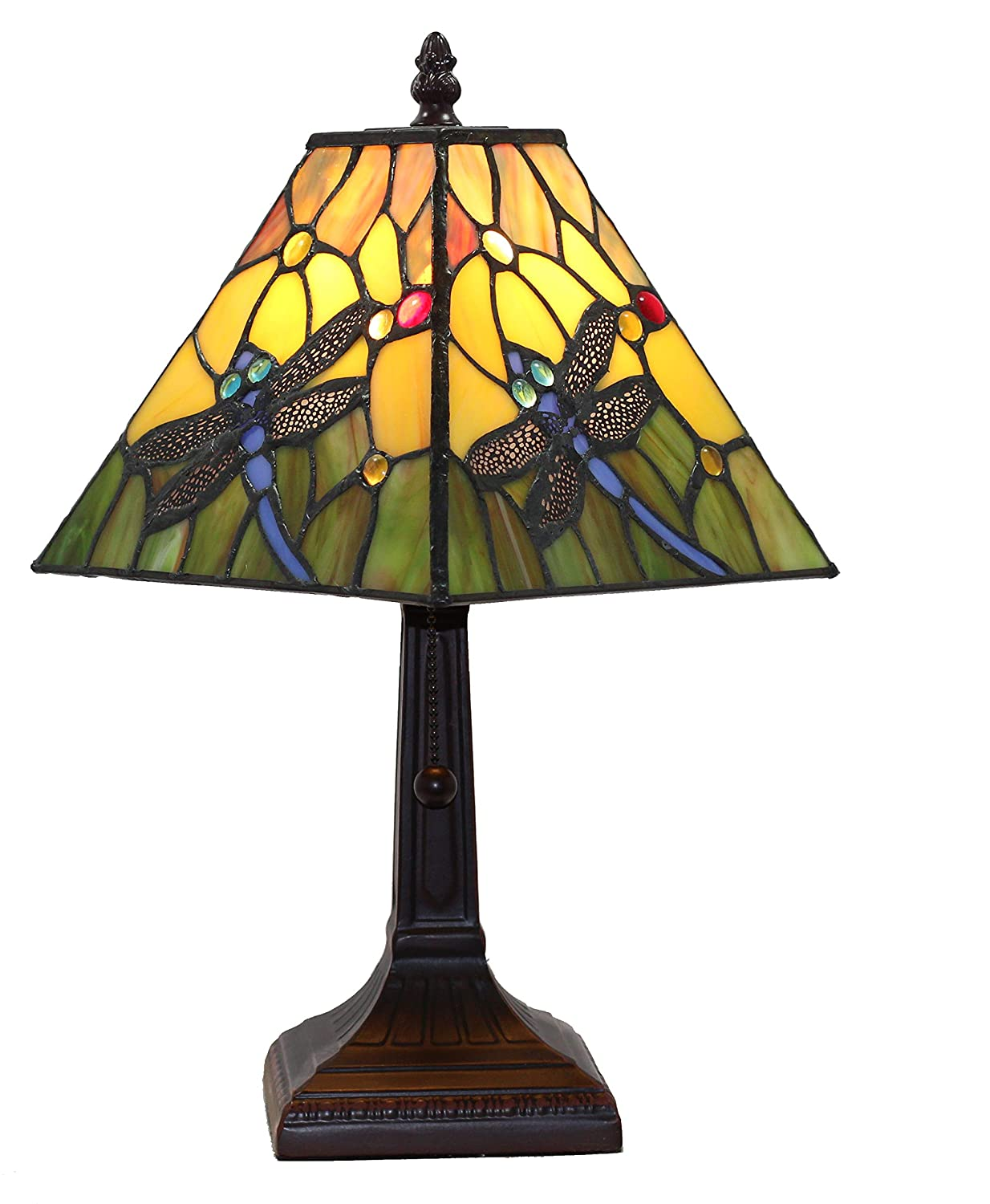 "Tiffany Style Mini Accent Lamp Mission 15"" Tall Stained Glass Yellow Green Floral Flower Dragonfly Vintage Antique Light Décor Nightstand Living Room Bedroom Handmade Gift AM289TL08B Amora Lighting"