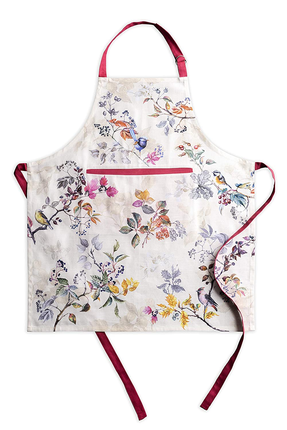 Maison d' Hermine Equinoxe 100% Cotton Beige Apron with an Adjustable Neck & Hidden Center Pocket 27.5 Inch by 31.5 Inch. Perfect for Thanksgiving and Christmas Aspero