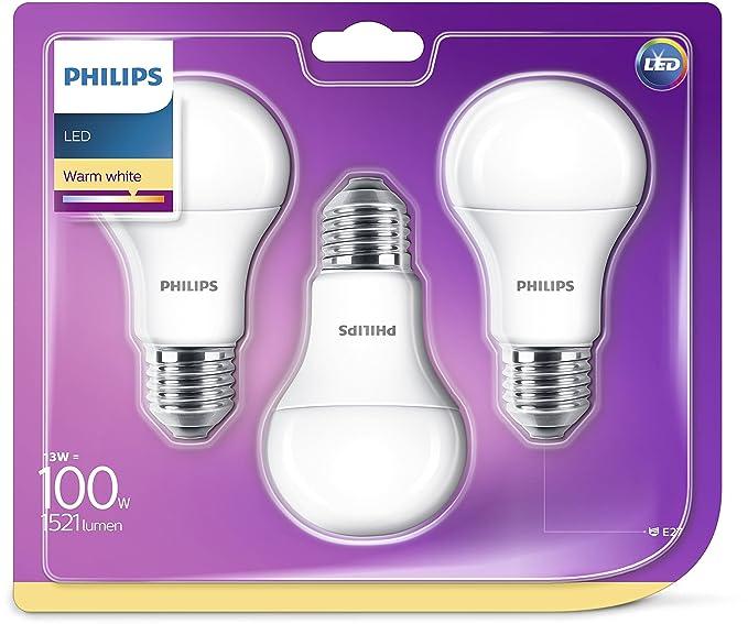 Philips - Bombilla LED de Casquillo Gordo E27 Luz Blanca Cálida 13W: Amazon.es: Iluminación