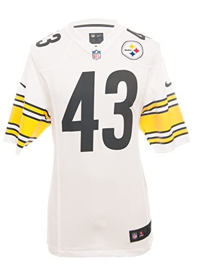 94e7fe7fd Nike NFL PITTSBURGH STEELERS TROY POLAMALU AMERICAN FOOTBALL GAME JERSEY IN  WHITE  Amazon.co.uk  Clothing
