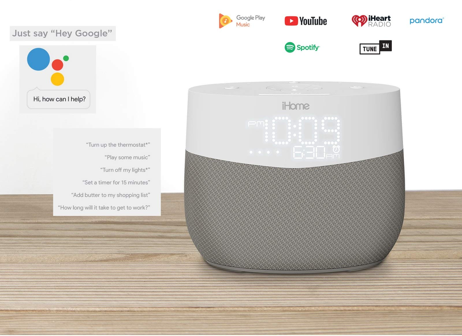 iHome Google Assistant Built-in Chromecast Smart Home Alarm Clock with  Wi-Fi Multiroom Audio Bluetooth Speaker System for Streaming Music with USB