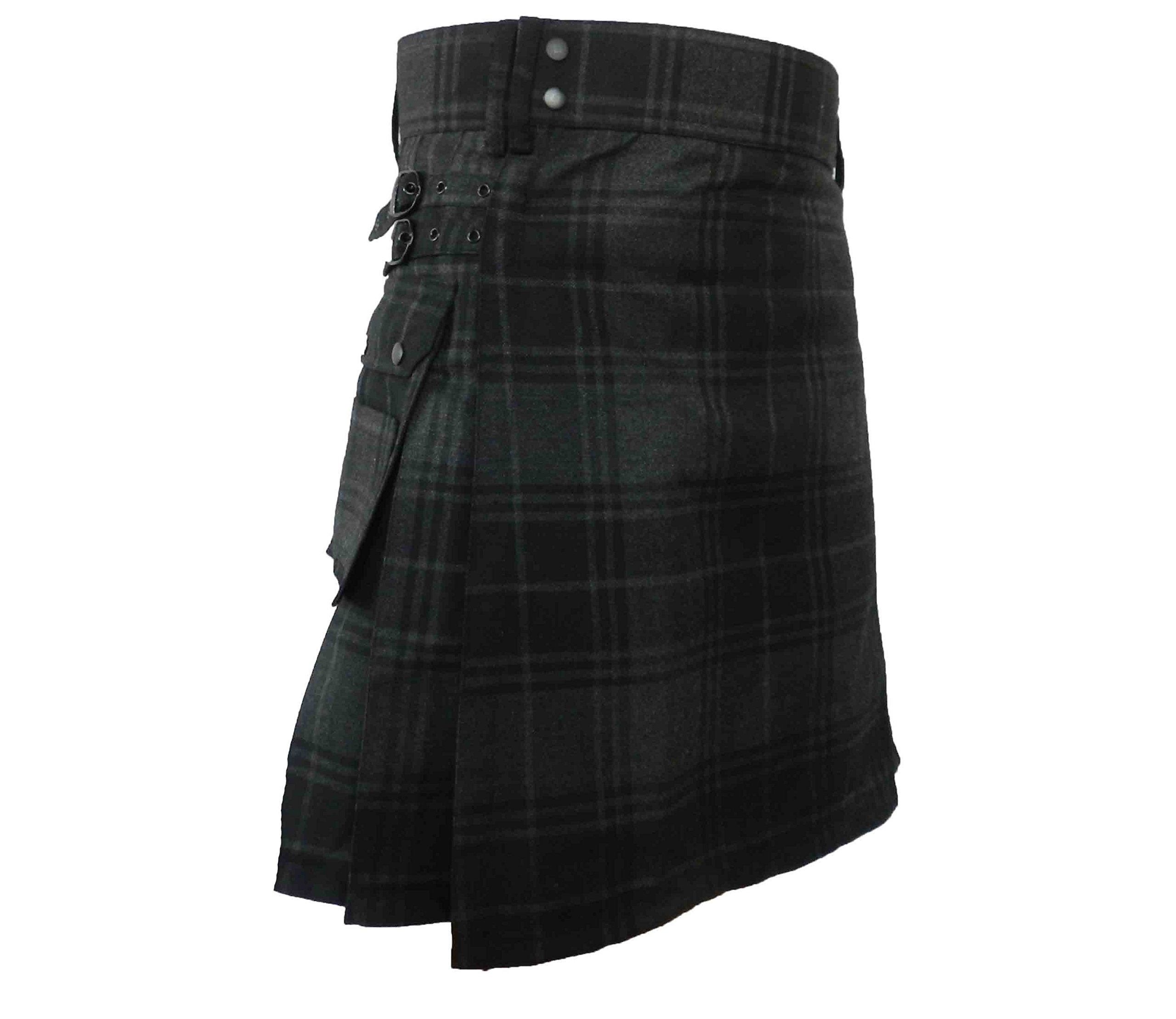 UTKilts Men's Gray Highlander Tartan Utility Kilt (32) by UT Kilts