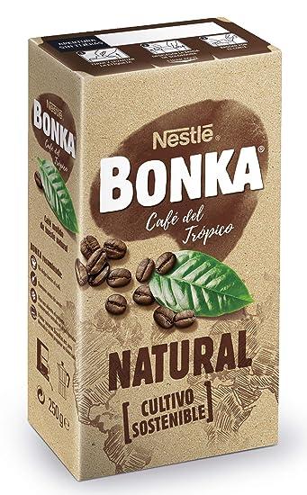 BONKA Café molido de tueste natural y cultivo sostenible - Paquete de Café molido de 4