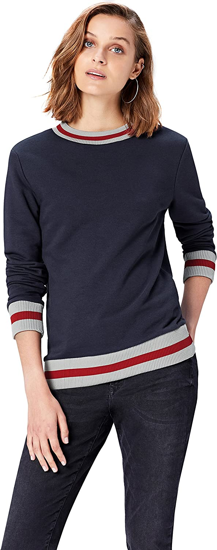 find Womens Sweatshirt  Stripe Rib Hem with Long Sleeves Brand