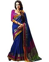 Miraan Women's Cotton Saree With Blouse Piece