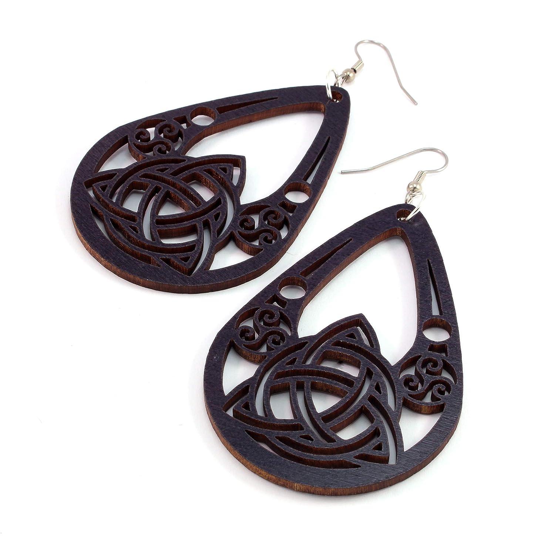 Triforce Earrings made of Sustainable Walnut Wood Hook Dangle Drop Earrings