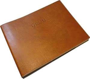 "Soft Cover Italian Leather Guest Book with ""Guests"" Embossed on Cover - Tan"