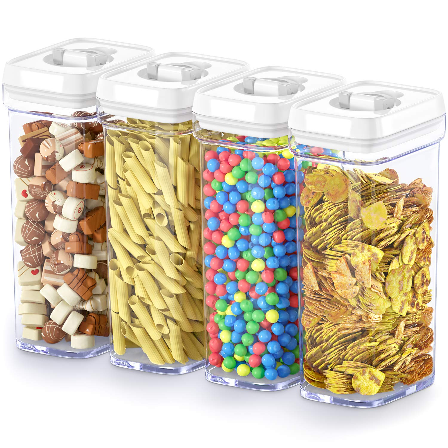 DWËLLZA KITCHEN Airtight Food Storage Containers with Lids – 4 Piece Set/All Same Size - Large Air Tight Clear Plastic Pantry & Kitchen Container for Chips & Snacks BPA-Free - Keeps Food Fresh & Dry