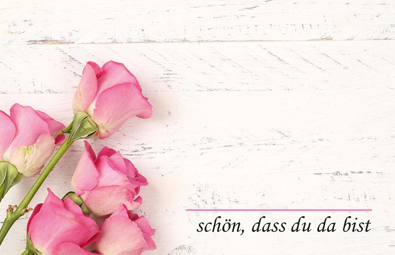 50 Tischkarten Rosenstrauss Rosa Holz Hintergrund Uv Lack