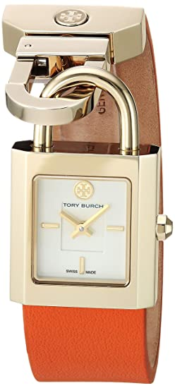 9028c1eb5e2 Tory Burch Surrey Ivory Dial Orange Leather Wrap Ladies Watch 7009   Amazon.ca  Watches