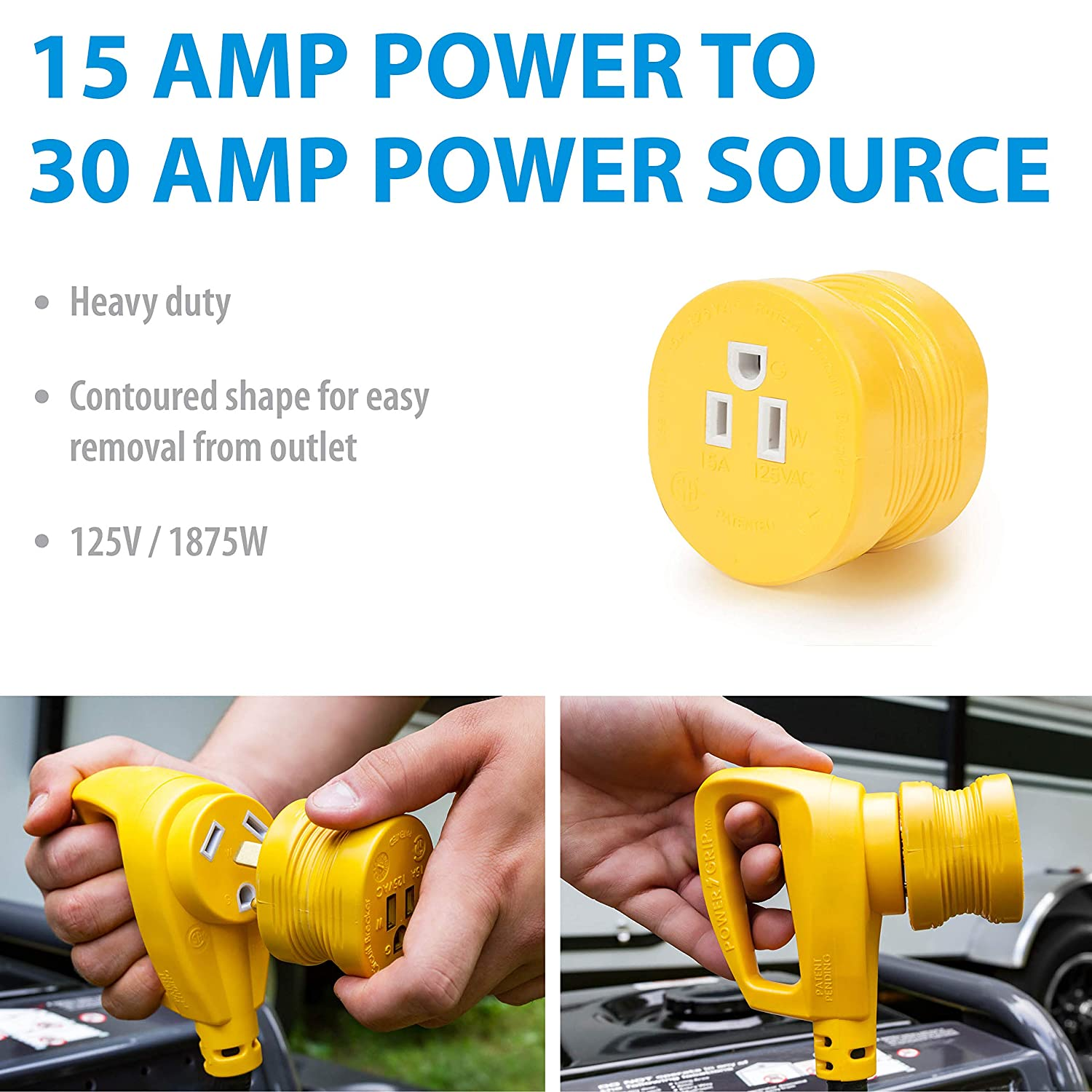 Camco Powergrip Durable Electrical Adapter Easy Grip 30 Rv Panel Wiring Diagram Further Extension Cord Plug For Simple And Safe Use Amp Male 15 Female 55233 Automotive