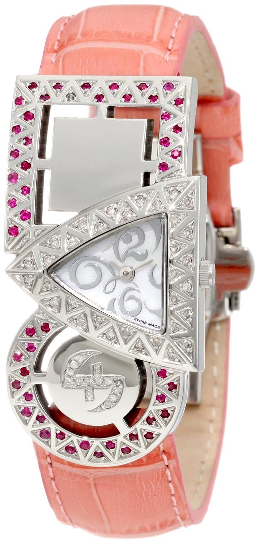 【日本未発売】Swisstek(スイステック) SK21909L Limited Edition Swiss Pink And White Diamond Watch With Red Rubies, Interchangeable Leather Strap And Sapphire Crystal B003IMY0J4