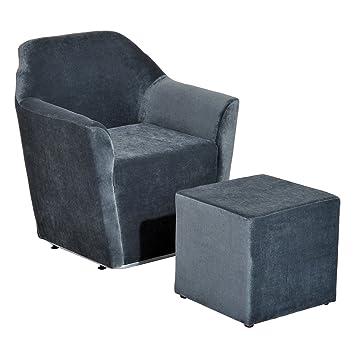 Homcom Sessel Relaxsessel Mit Hocker Fussstutze Aus Samt Grau 85 X