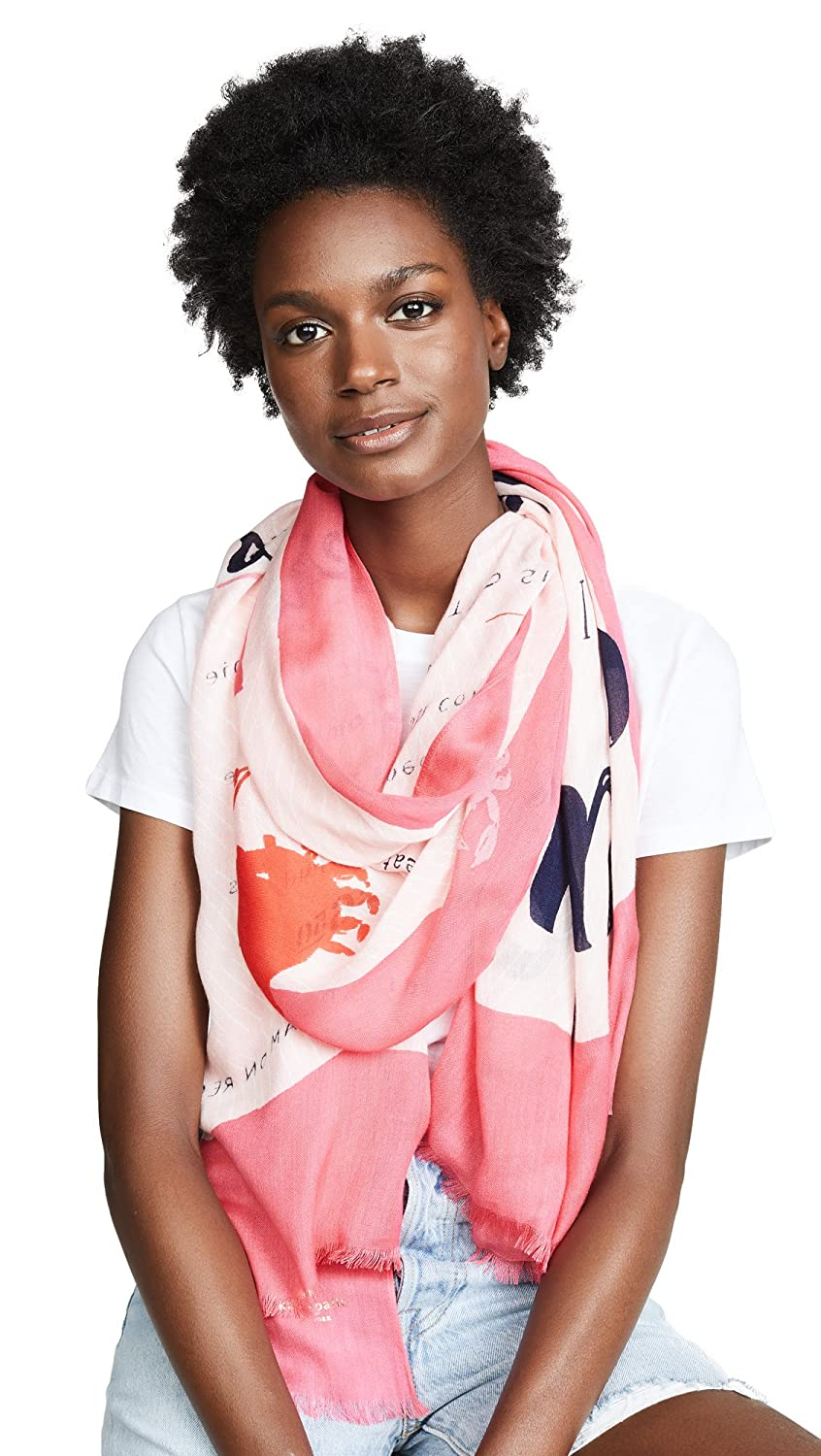 Kate Spade New York Women's Sandy's Seaside Stand Oblong Scarf Peach Sherbert One Size