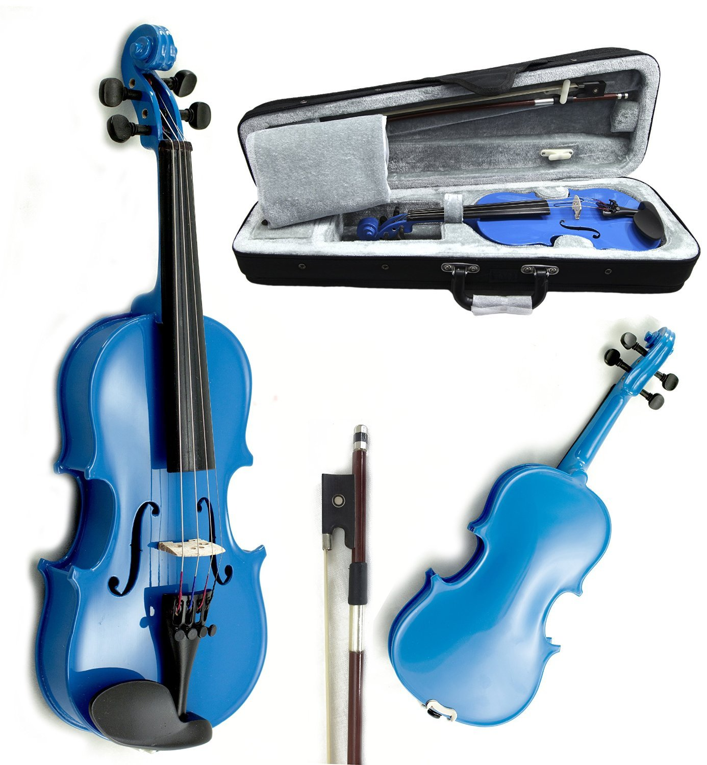 SKY Wood 1/16 Size Kid Violin with Lightweight Case, Brazilwood Bow and Rosin Sky Blue Color by Sky