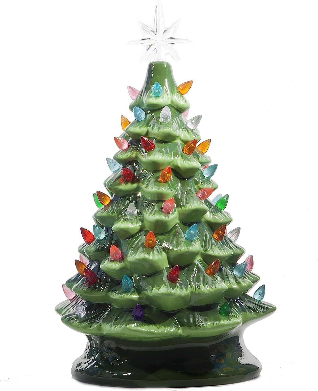 Ceramic Tabletop Christmas Tree w/ Lights Green 14.5 ...