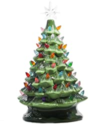 """ReLive - 14.5"""" Green Ceramic Christmas Tree with Multicolored Lights"""