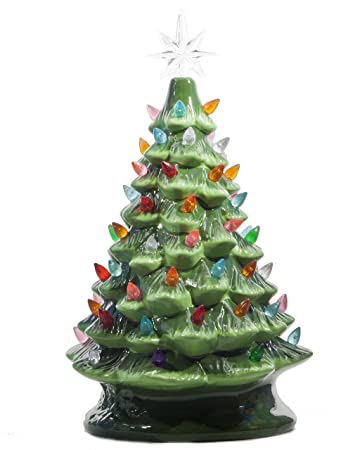 Ceramic Christmas Tree With Lights.Relive Christmas Is Forever Lighted Tabletop Ceramic Tree 14 5 Inch Green Tree With Multicolored Lights