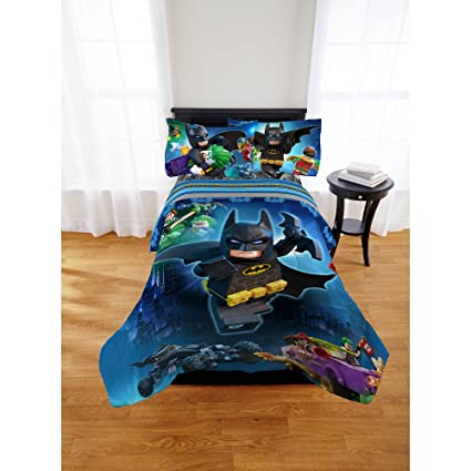 Lego Batman 4pc Twin Comforter And Sheet Set Bedding Collection