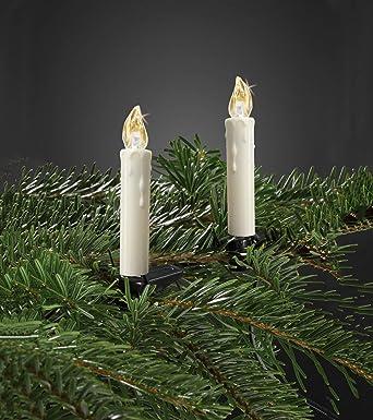 Hellum 530209 LED Weihnachtsbaumkerzen kabellos dimmbar mit Flackermodus Wachstropfen 10x warmwei/ß LED Kerzen mit Fernbedienung batteriebetriebene 9x1,5cm Christbaumkerzen ohne Kabel