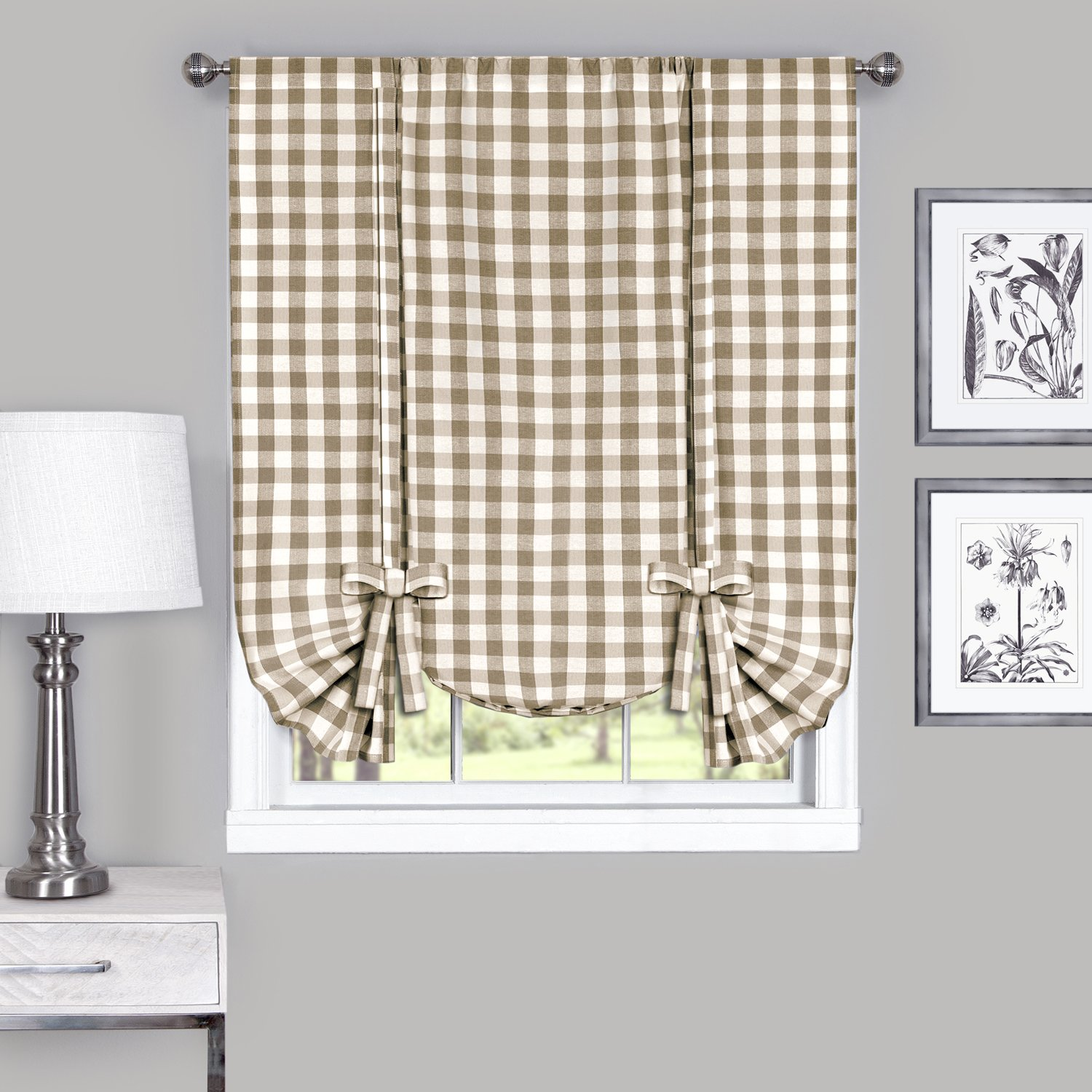 Achim Home Furnishings BCPN63BW12 Buffalo Check Window Curtain Panel, 42