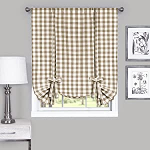 "Achim Home Furnishings Buffalo Check Window Curtain Tie Up Shade, 42"" x 63"", Taupe & Ivory"