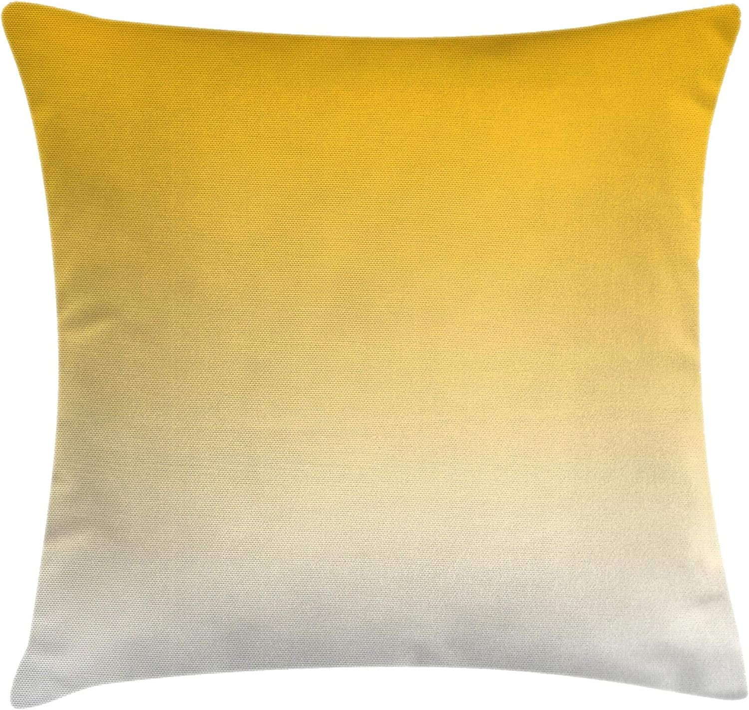 """Ambesonne Ombre Throw Pillow Cushion Cover, Summer Love on The Beach Theme Inspired for Yellow Lovers Modern Ombre Art Design, Decorative Square Accent Pillow Case, 18"""" X 18"""", Yellow"""
