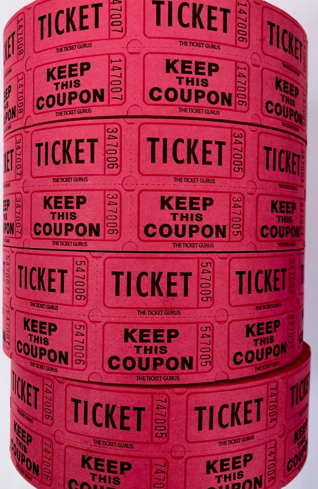 The Ticket Gurus-Raffle Tickets - (4 Rolls of 2000 Double Tickets) 8,000 Total 50/50 Raffle Tickets-(4) RED Rolls by The Ticket Gurus