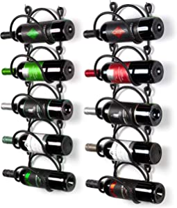 Wallniture Wrought Iron Wine Rack Wall Mount Bottle Storage Organizer Rustic Home Décor Curved Finish Black Set of 10