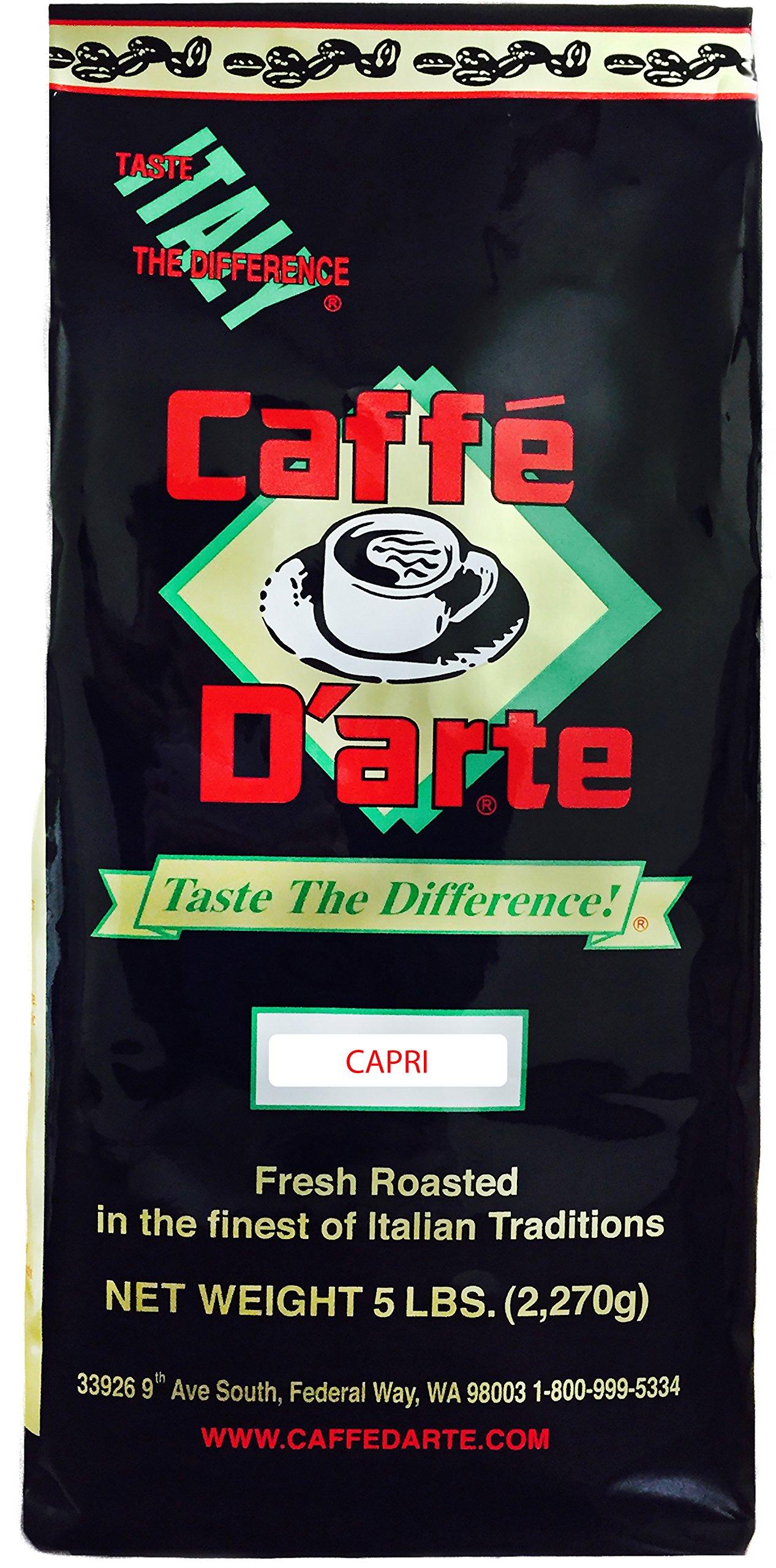 Caffe D'arte Capri Whole Bean Coffee, 5-Pound Foil Bag
