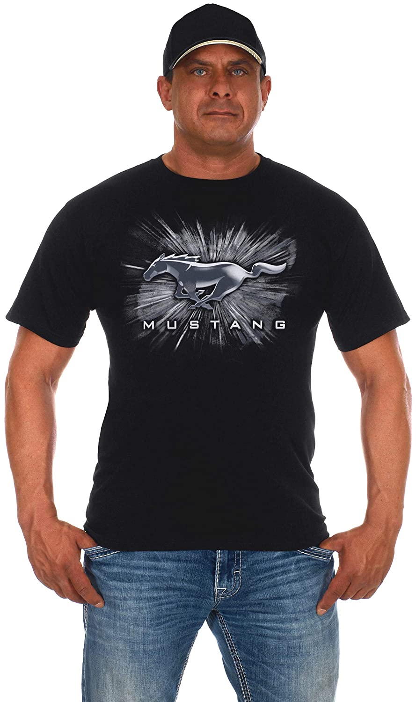 JH DESIGN GROUP Mens Ford Mustang Short Sleeve Crew Neck T-Shirt Silver Burst Design