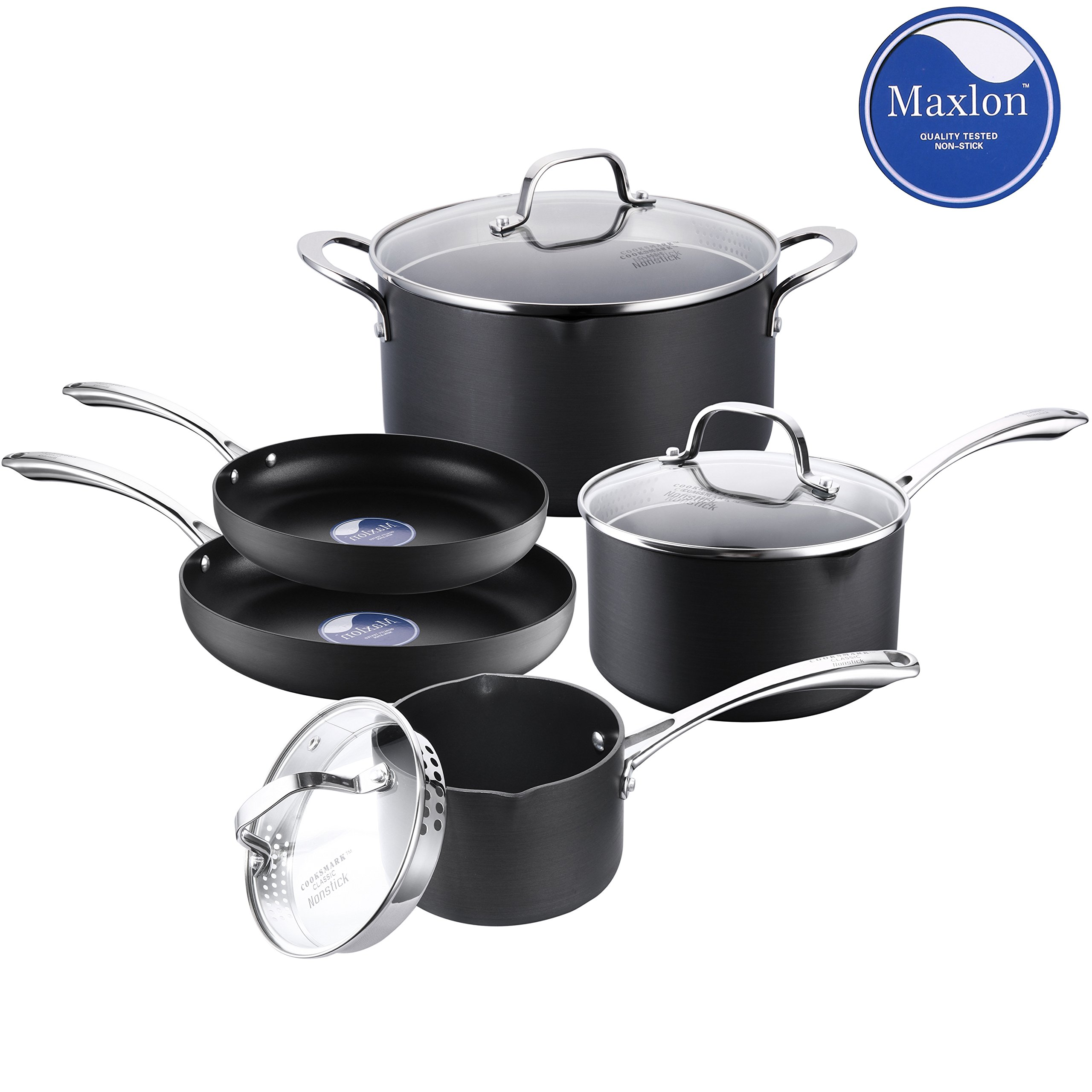 Classic Nonstick Pots and Pans Set, Cooksmark Hard-Anodized Aluminum Scratch Resistant Dishwasher Safe Oven Safe PFOA Free Cookware Set With glass lids and straining cover, 5-PCS Black