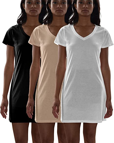 0eb7e5efaddd Sexy Basics Women s Cotton Soft V-Neck Sleepwear Shirt Nightwear Shirt  -Pack of 3 at Amazon Women s Clothing store