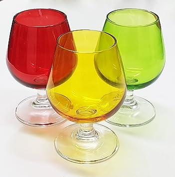Takestop Juego De 6 Vasos Vaso Globo Sweet Multicolor De Cristal