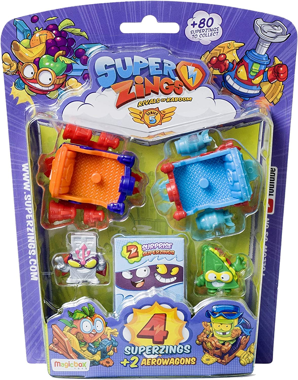 Superzings- Serie 5 - Blister AeroWagon con 4 figuras SuperZings (1 plateada) + 2 Aerowagons, colores aleatorios