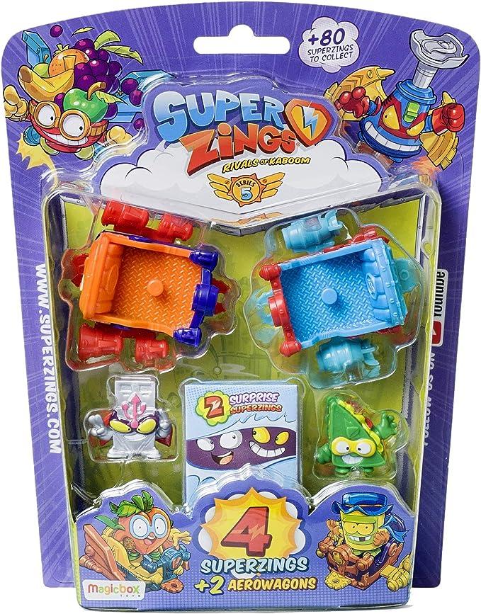 Superzings- Serie 5 - Blister AeroWagon con 4 figuras SuperZings (1 plateada) + 2 Aerowagons, colores y patrones surtidos: Amazon.es: Juguetes y juegos