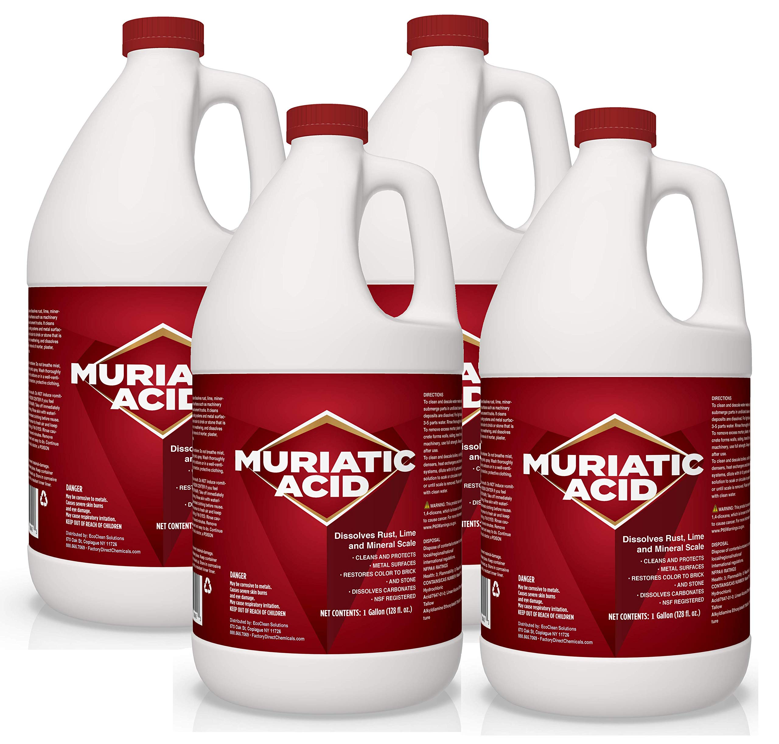 MURIATIC Acid Cleaner | HYDROCHLORIC Acid - Industrial Cleaner & Degreaser | Dissolves Carbonates, Rust, Lime, Mineral Scale | Cleans & Protects Metal Surfaces - 4 X 1 Gallon Case by EcoClean Solutions