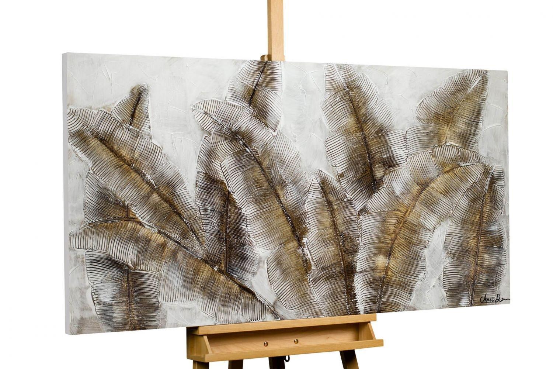 KunstLoft® Acryl Gemälde 'Iced Feathers' 140x70cm | original handgemalte Leinwand Bilder XXL | Natur Blätter Farn Braun | Wandbild Acryl bild moderne Kunst einteilig mit Rahmen