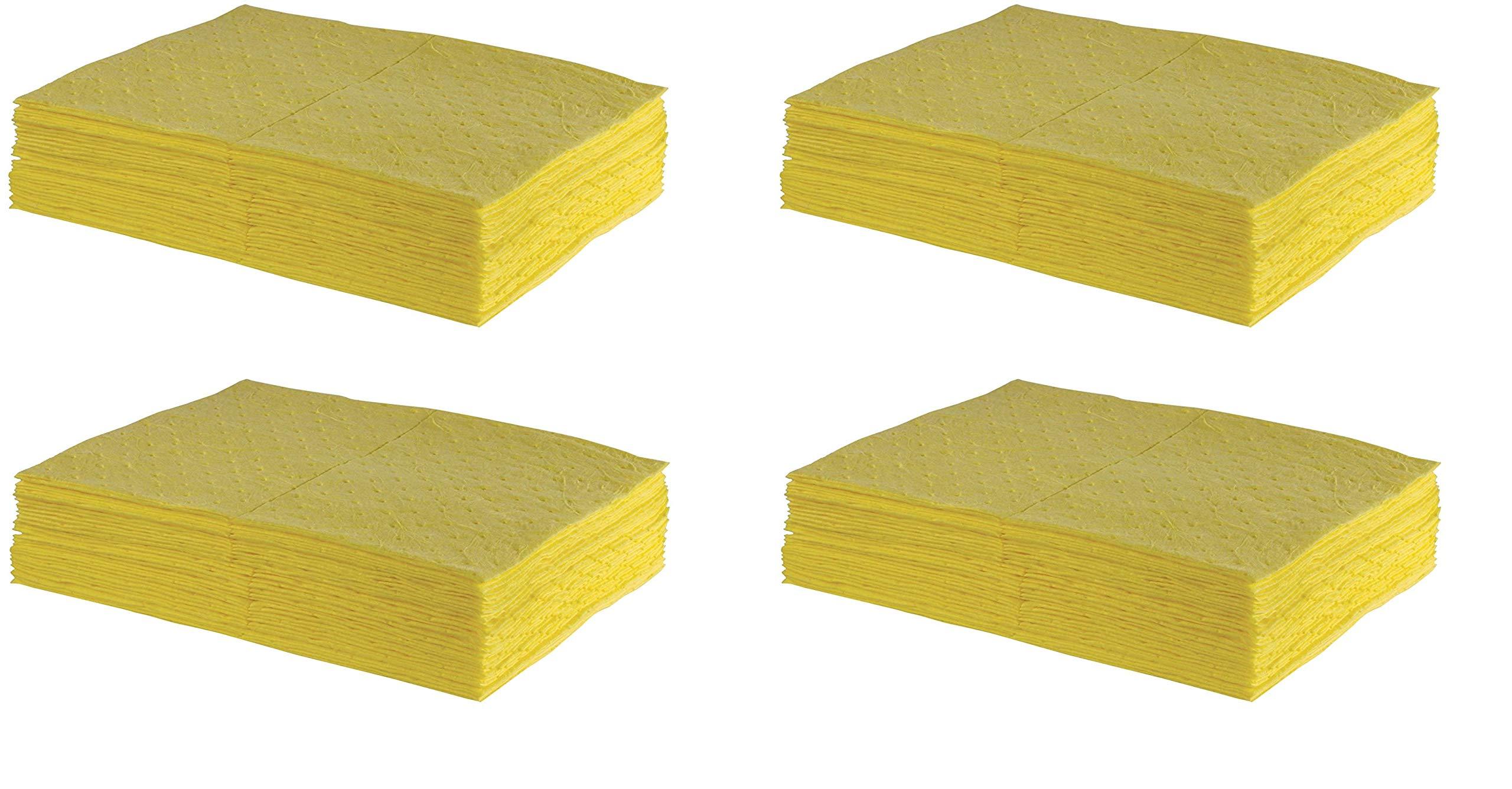 ESP 2MBYPB Polypropylene Medium Weight Meltblown Absorbent Sonic Bonded Hazmat Pad, 20 Gallons Oil and 13 Gallons Water Absorbency, 18'' Length X 15'' Width, Yellow (100 per Bale) (4 X 100 per Bale)