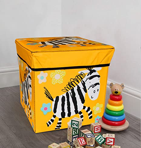 TIED RIBBONS Toy Organisers Storage Box Storage Boxes for Toys Under Lid Padded Seat (30 cm X 28.5 cm X 28.5 cm, Multicolor)