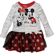 Disney Baby Girls' Minnie Mouse Tulle Dress, Heather White (12M)