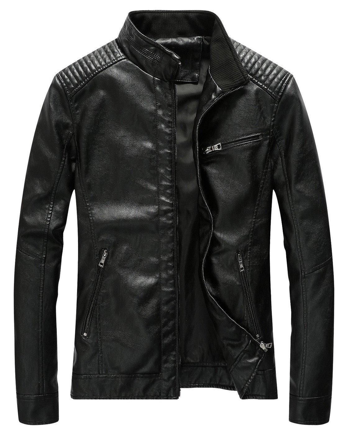 Fairylinks Leather Jacket Men Slim Fit Motorcyle Lightweight ,Black,Medium by Fairylinks